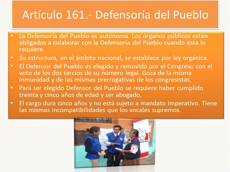 Artículo 161.- Defensoría del Pueblo