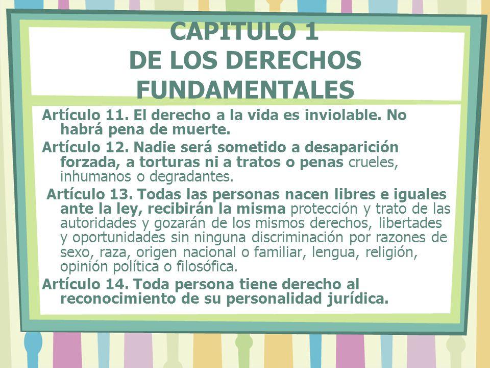 CAPITULO 1 DE LOS DERECHOS FUNDAMENTALES