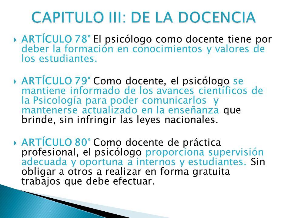 CAPITULO III: DE LA DOCENCIA