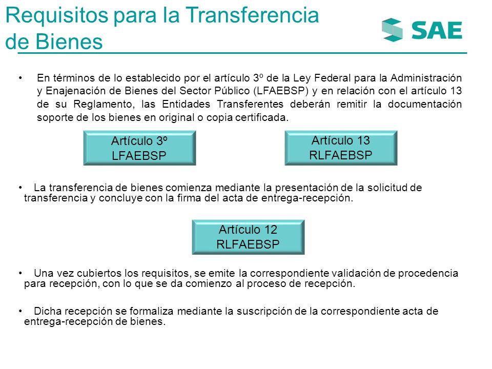 Requisitos para la Transferencia de Bienes