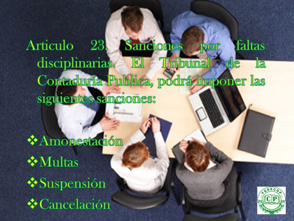 Articulo 23. Sanciones por faltas disciplinarias