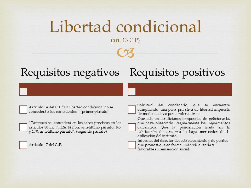 Libertad condicional (art. 13 C.P)