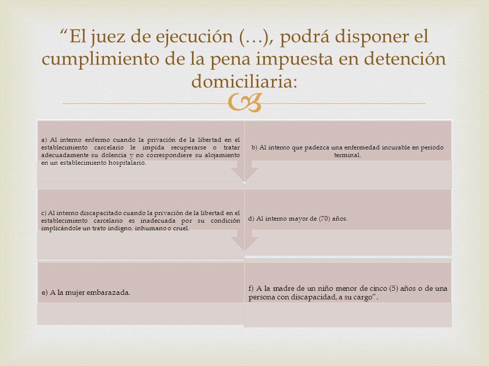 El juez de ejecución (…), podrá disponer el cumplimiento de la pena impuesta en detención domiciliaria: