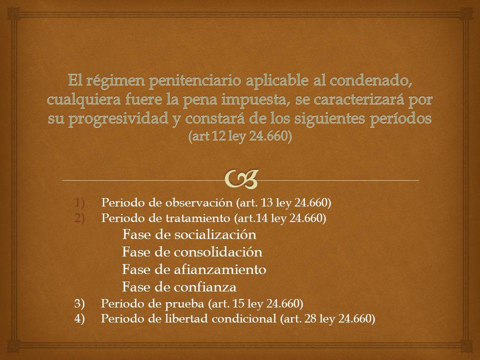 El régimen penitenciario aplicable al condenado, cualquiera fuere la pena impuesta, se caracterizará por su progresividad y constará de los siguientes períodos (art 12 ley 24.660)