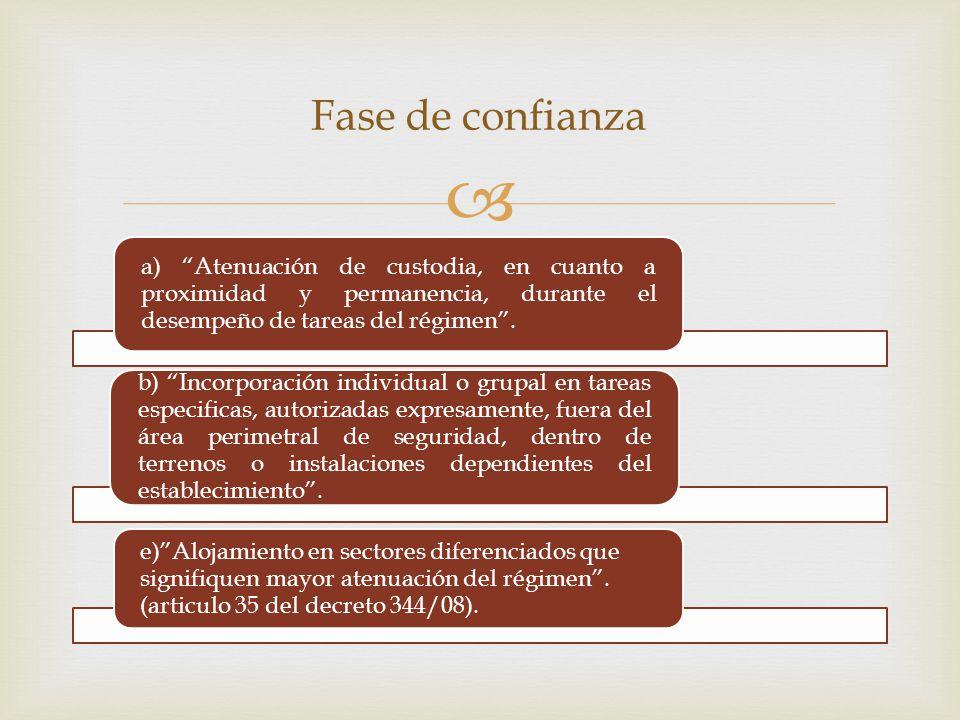 Fase de confianza a) Atenuación de custodia, en cuanto a proximidad y permanencia, durante el desempeño de tareas del régimen .