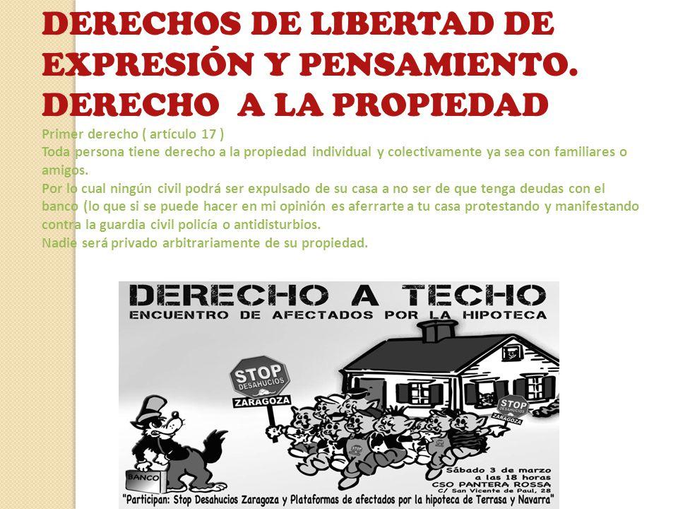 DERECHOS DE LIBERTAD DE EXPRESIÓN Y PENSAMIENTO. DERECHO A LA PROPIEDAD