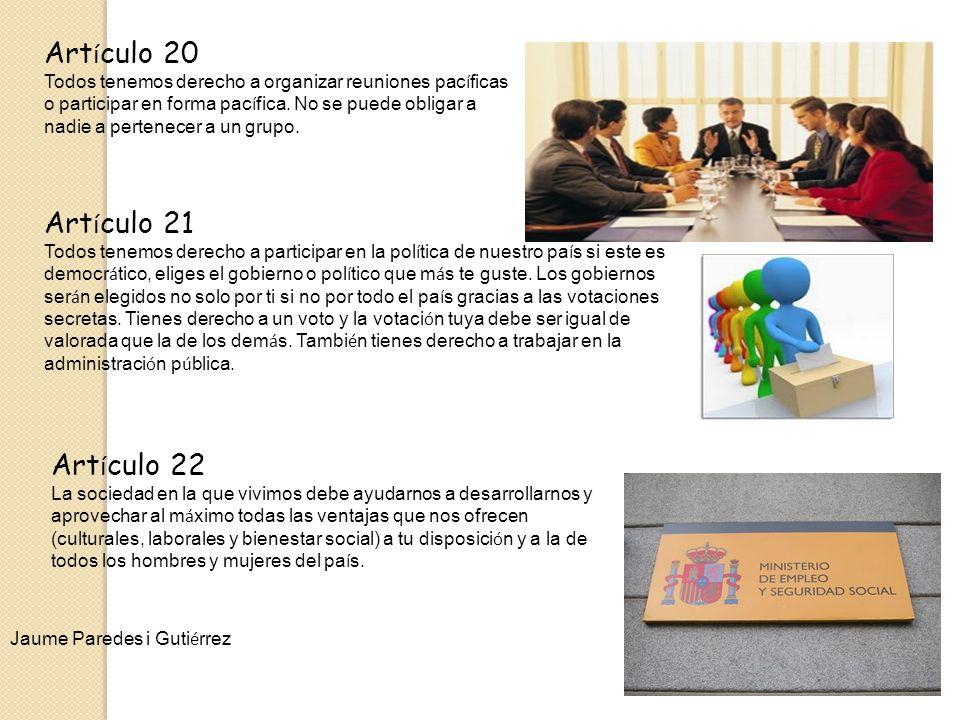 Artículo 20 Artículo 21 Artículo 22