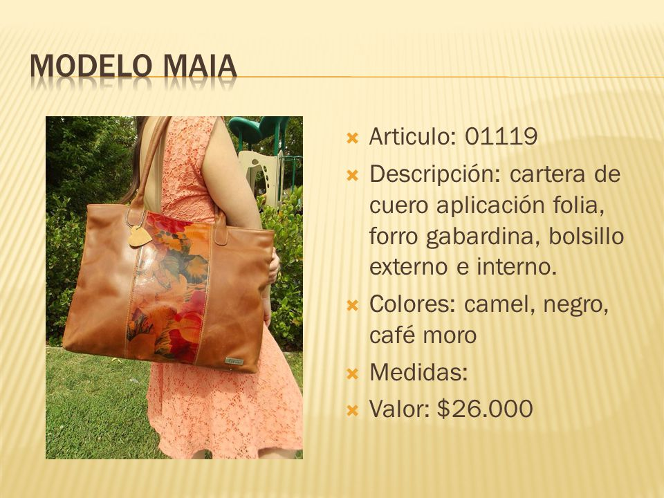 Modelo Maia Articulo: 01119. Descripción: cartera de cuero aplicación folia, forro gabardina, bolsillo externo e interno.