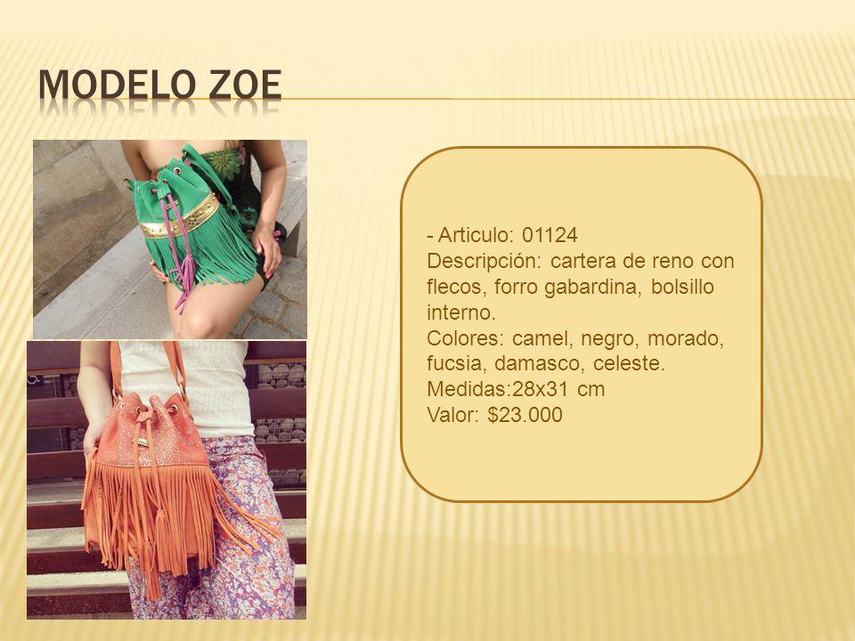 MODELO ZOE - Articulo: 01124. Descripción: cartera de reno con flecos, forro gabardina, bolsillo interno.