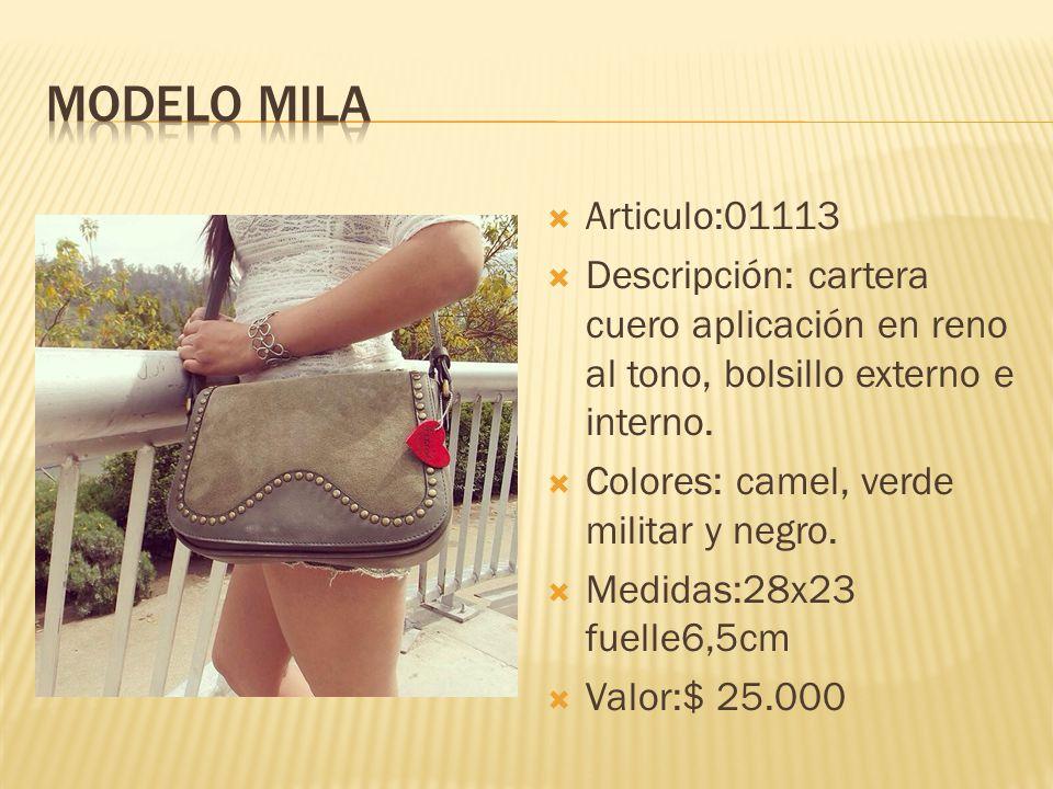 Modelo mila Articulo:01113. Descripción: cartera cuero aplicación en reno al tono, bolsillo externo e interno.