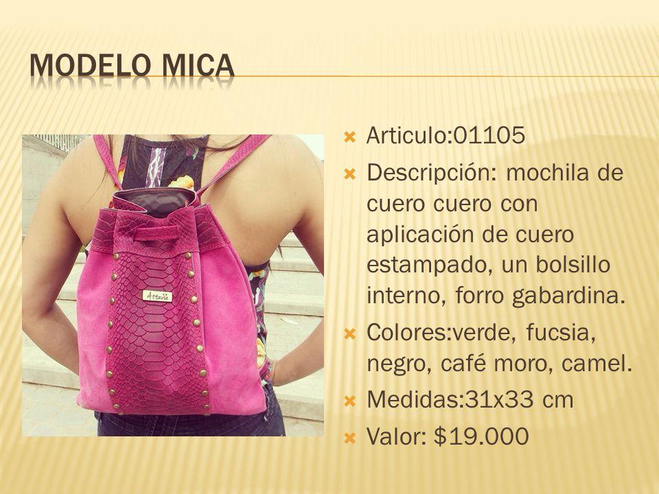 Modelo mica Articulo:01105. Descripción: mochila de cuero cuero con aplicación de cuero estampado, un bolsillo interno, forro gabardina.