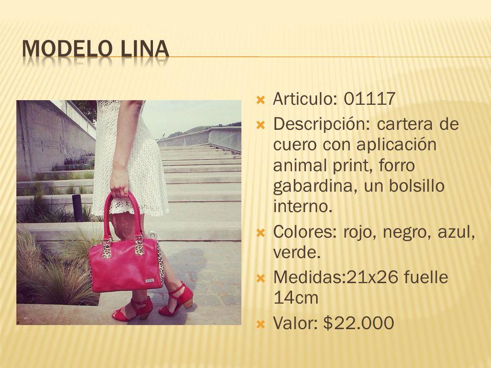 Modelo lina Articulo: 01117. Descripción: cartera de cuero con aplicación animal print, forro gabardina, un bolsillo interno.