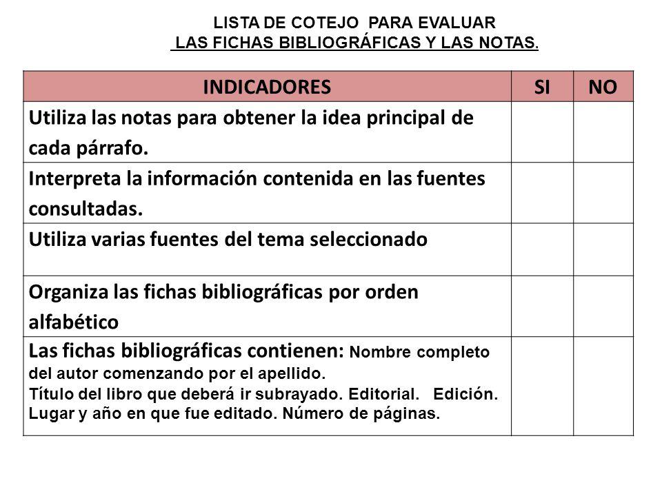 LISTA DE COTEJO PARA EVALUAR LAS FICHAS BIBLIOGRÁFICAS Y LAS NOTAS.