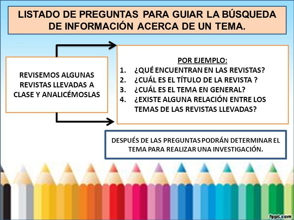 REVISEMOS ALGUNAS REVISTAS LLEVADAS A CLASE Y ANALICÉMOSLAS