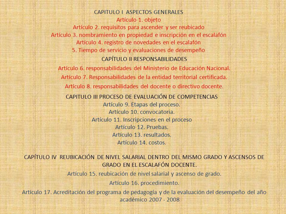 CAPITULO I ASPECTOS GENERALES Artículo 1. objeto