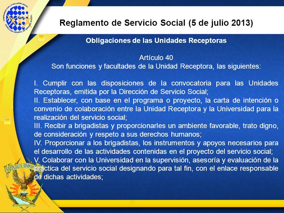 Reglamento de Servicio Social (5 de julio 2013)
