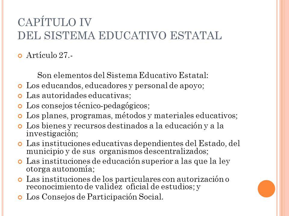 CAPÍTULO IV DEL SISTEMA EDUCATIVO ESTATAL