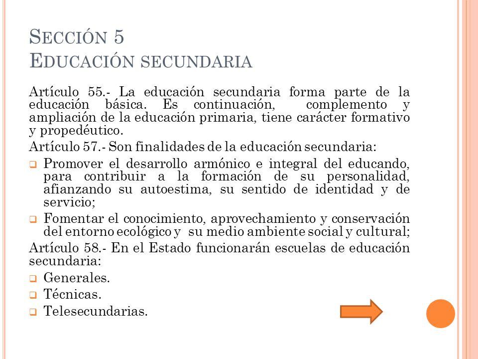 Sección 5 Educación secundaria