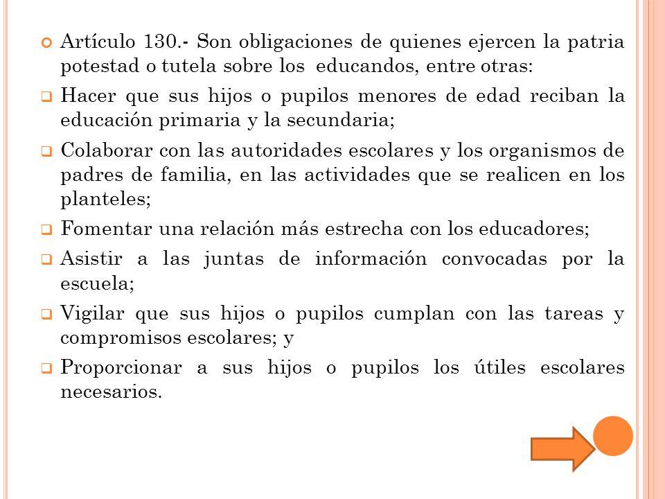 Artículo 130.- Son obligaciones de quienes ejercen la patria potestad o tutela sobre los educandos, entre otras: