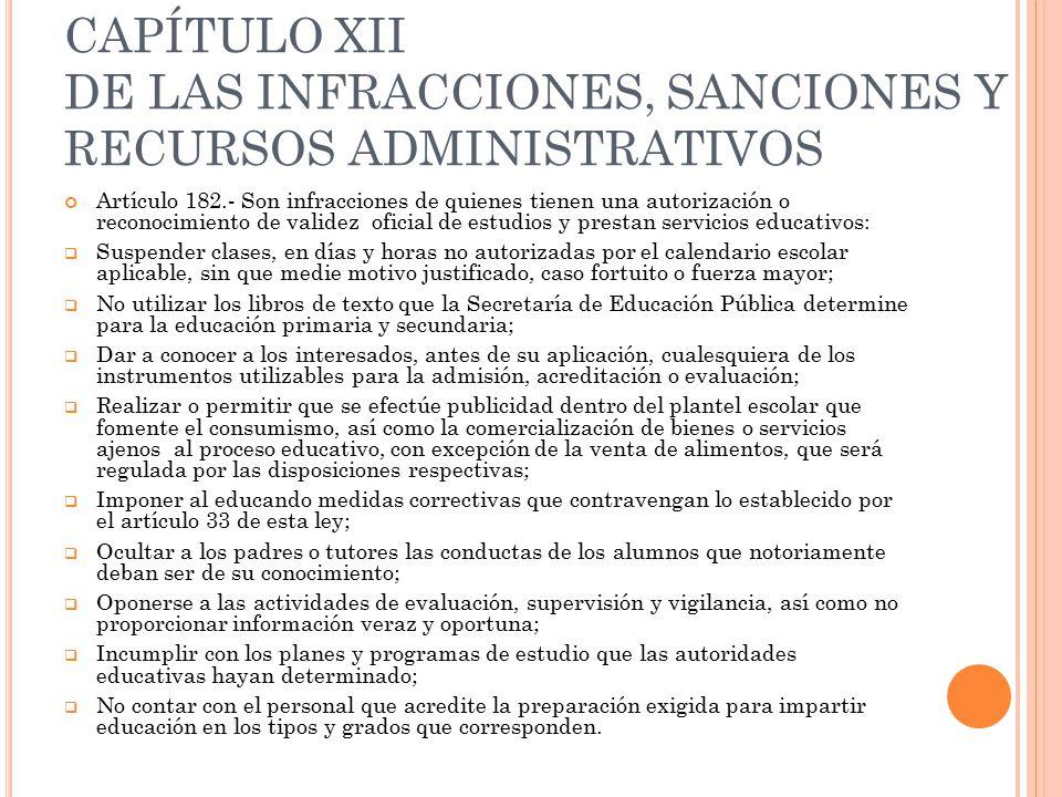 CAPÍTULO XII DE LAS INFRACCIONES, SANCIONES Y RECURSOS ADMINISTRATIVOS