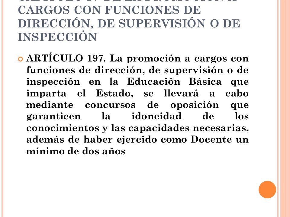 CAPÍTULO IV DE LA PROMOCIÓN A CARGOS CON FUNCIONES DE DIRECCIÓN, DE SUPERVISIÓN O DE INSPECCIÓN