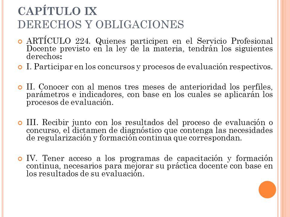 CAPÍTULO IX DERECHOS Y OBLIGACIONES