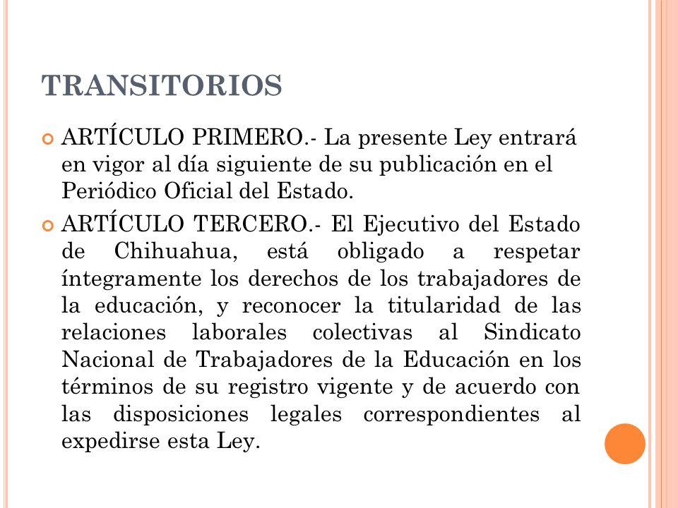 TRANSITORIOS ARTÍCULO PRIMERO.- La presente Ley entrará en vigor al día siguiente de su publicación en el Periódico Oficial del Estado.