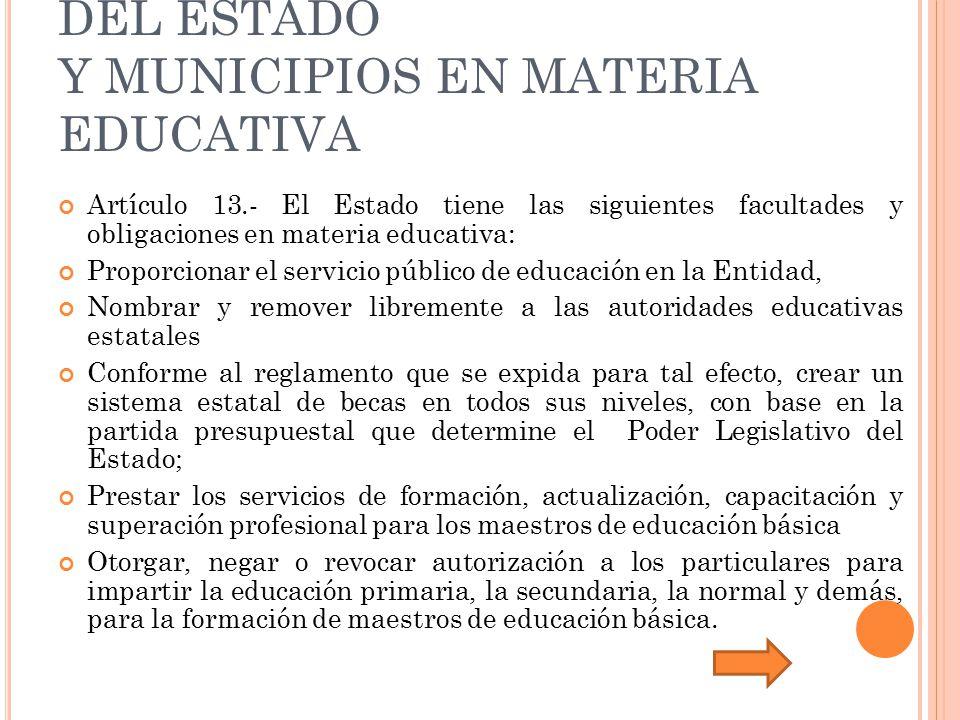 CAPÍTULO II FACULTADES Y OBLIGACIONES DEL ESTADO Y MUNICIPIOS EN MATERIA EDUCATIVA