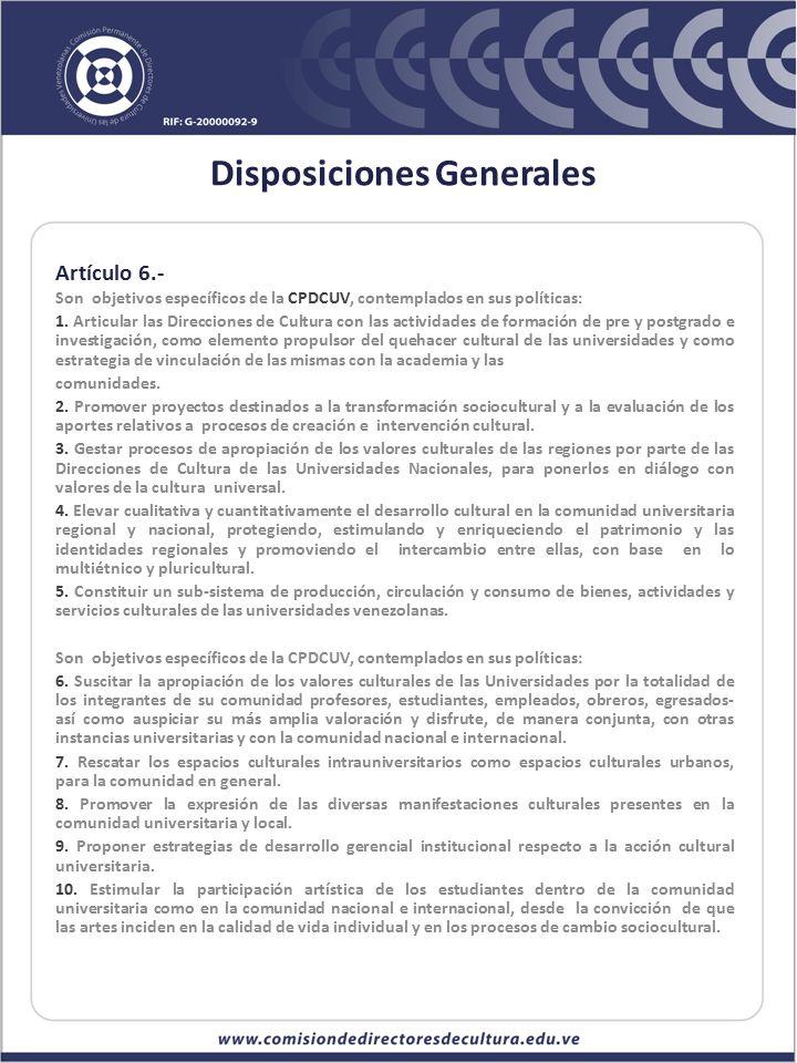 Disposiciones Generales