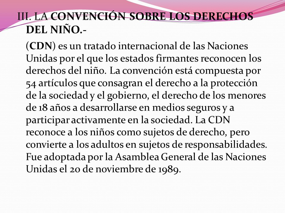 III. La Convención sobre los Derechos del Niño