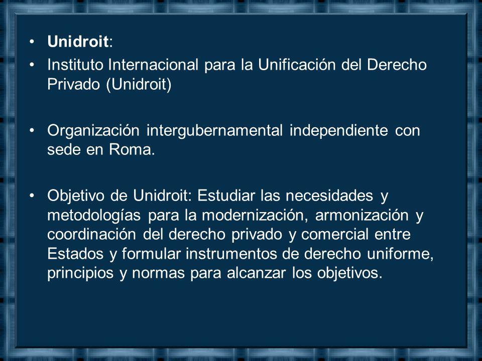 Unidroit: Instituto Internacional para la Unificación del Derecho Privado (Unidroit) Organización intergubernamental independiente con sede en Roma.