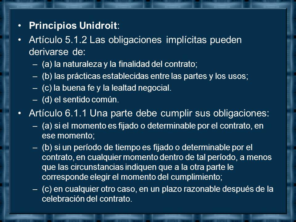 Artículo 5.1.2 Las obligaciones implícitas pueden derivarse de: