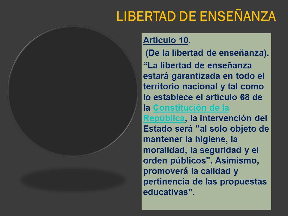 LIBERTAD DE ENSEÑANZA Artículo 10. (De la libertad de enseñanza).