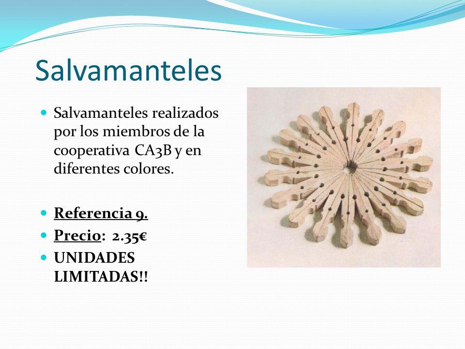 Salvamanteles Salvamanteles realizados por los miembros de la cooperativa CA3B y en diferentes colores.