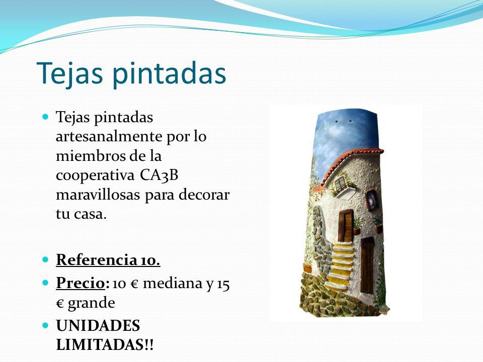 Tejas pintadas Tejas pintadas artesanalmente por lo miembros de la cooperativa CA3B maravillosas para decorar tu casa.
