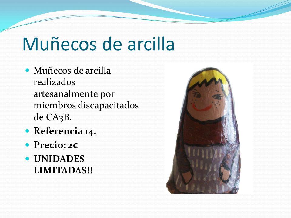 Muñecos de arcilla Muñecos de arcilla realizados artesanalmente por miembros discapacitados de CA3B.