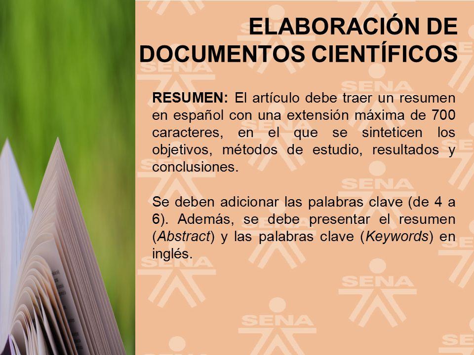 RESUMEN: El artículo debe traer un resumen en español con una extensión máxima de 700 caracteres, en el que se sinteticen los objetivos, métodos de estudio, resultados y conclusiones.
