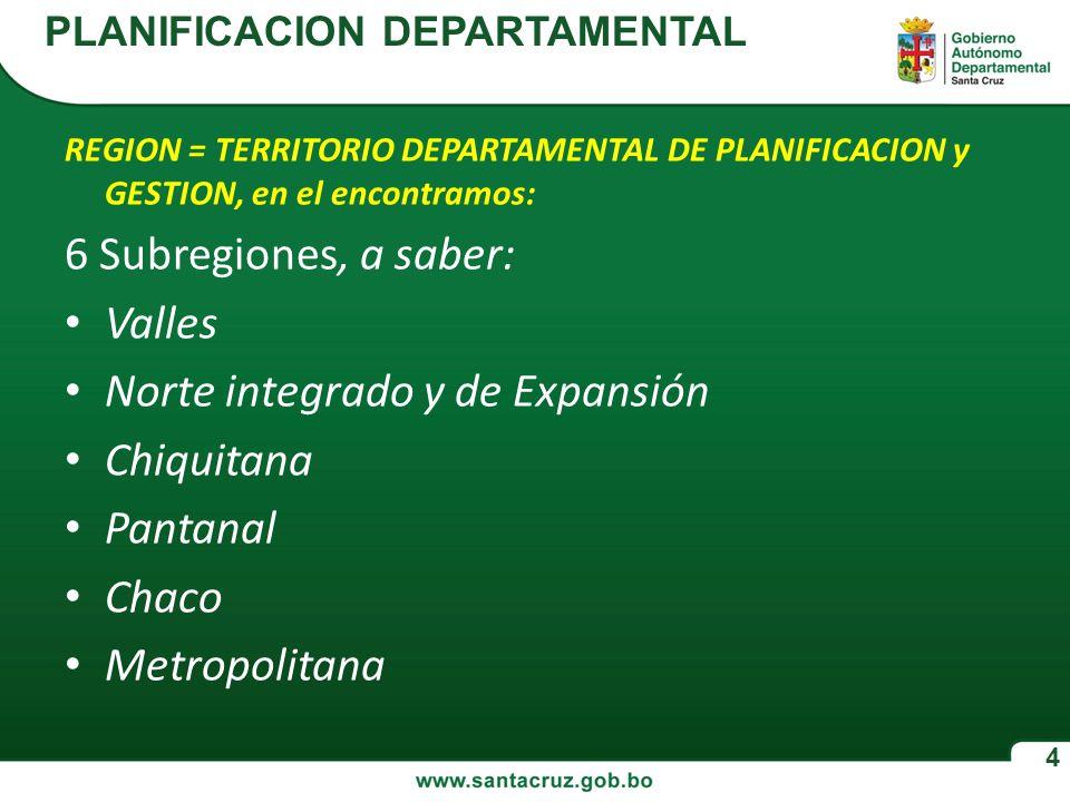 Norte integrado y de Expansión Chiquitana Pantanal Chaco Metropolitana