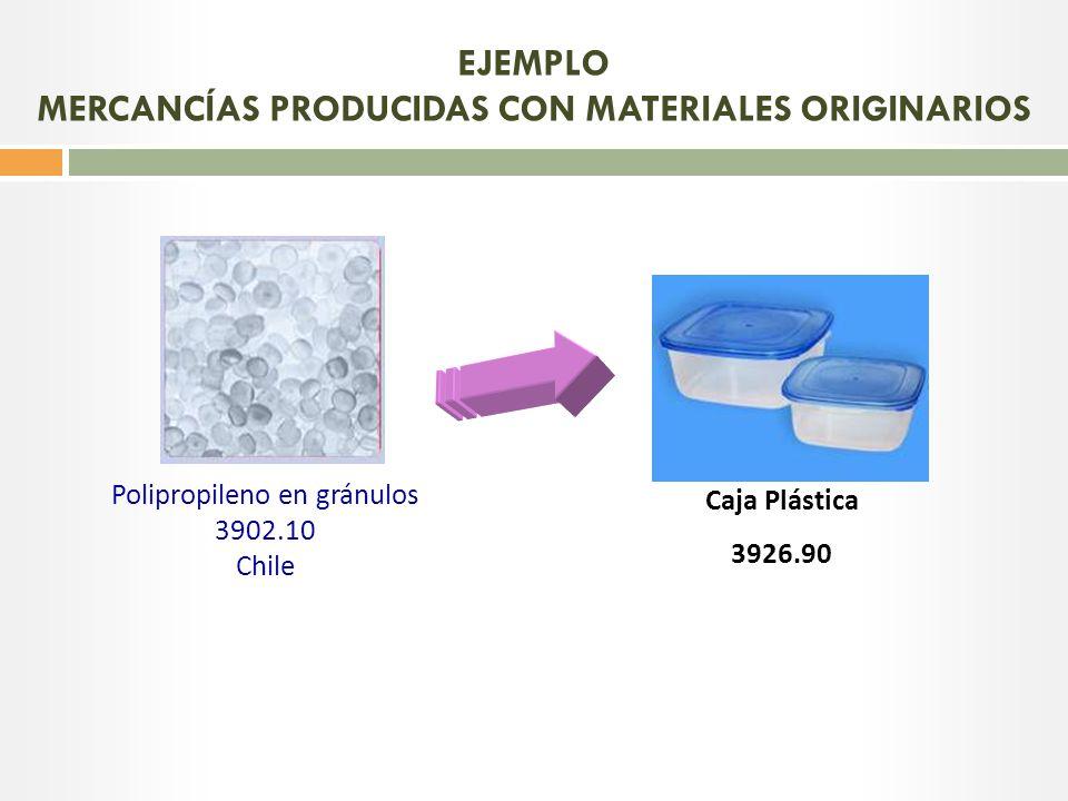 EJEMPLO MERCANCÍAS PRODUCIDAS CON MATERIALES ORIGINARIOS
