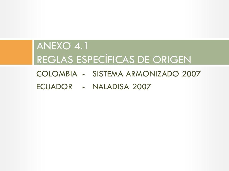 ANEXO 4.1 REGLAS ESPECÍFICAS DE ORIGEN