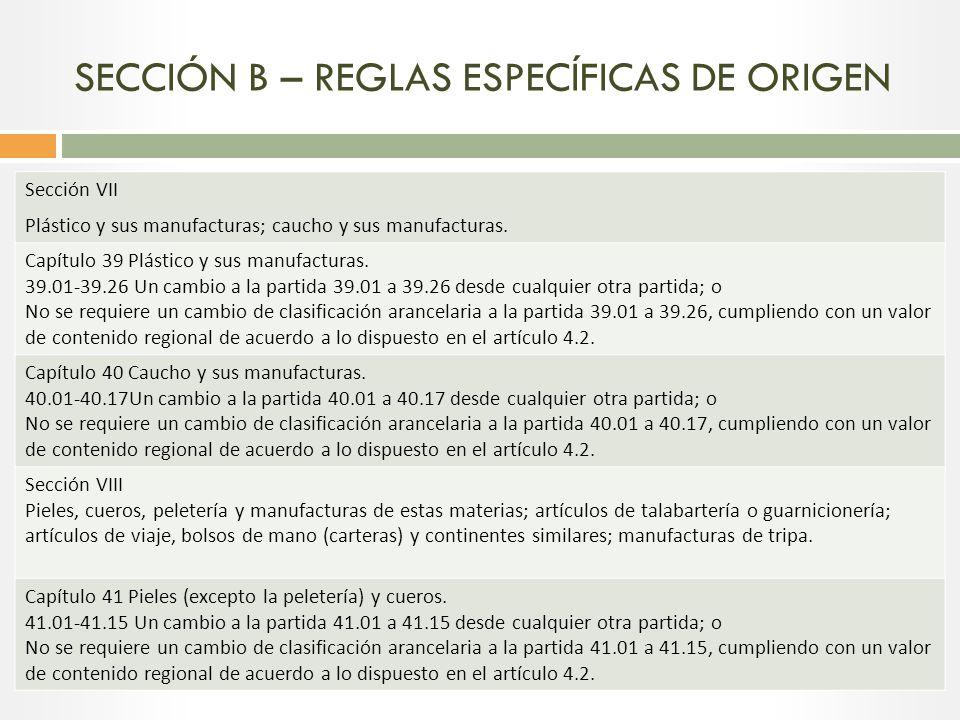 SECCIÓN B – REGLAS ESPECÍFICAS DE ORIGEN