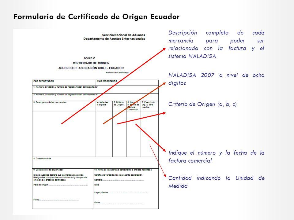 Formulario de Certificado de Origen Ecuador