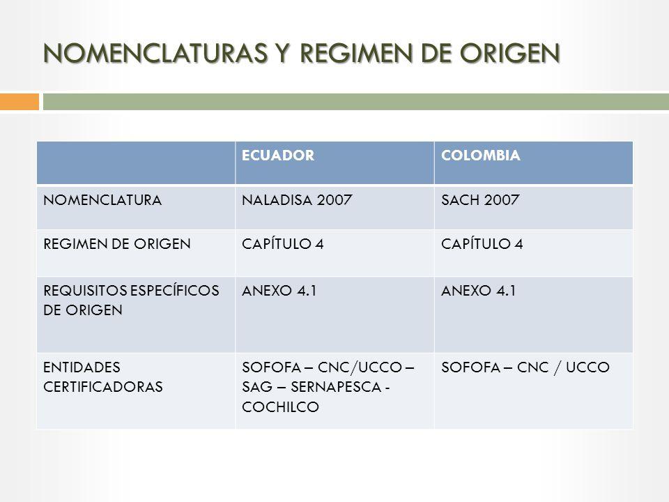 NOMENCLATURAS Y REGIMEN DE ORIGEN
