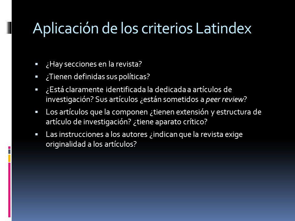 Aplicación de los criterios Latindex