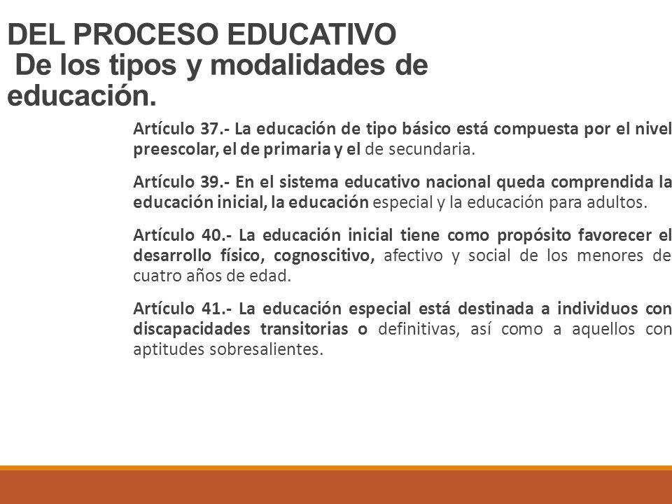 DEL PROCESO EDUCATIVO De los tipos y modalidades de educación.