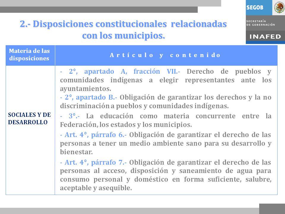 2.- Disposiciones constitucionales relacionadas