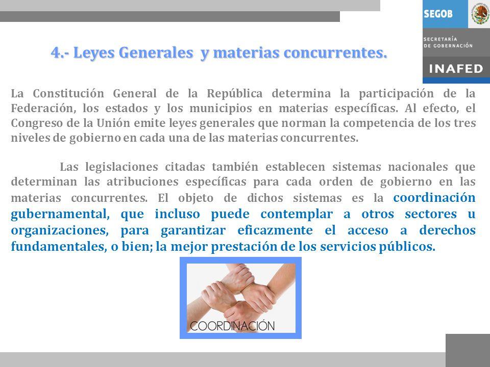 4.- Leyes Generales y materias concurrentes.