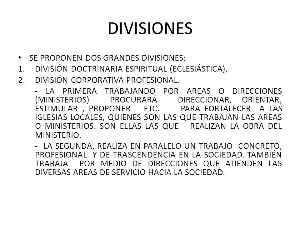 DIVISIONES SE PROPONEN DOS GRANDES DIVISIONES;