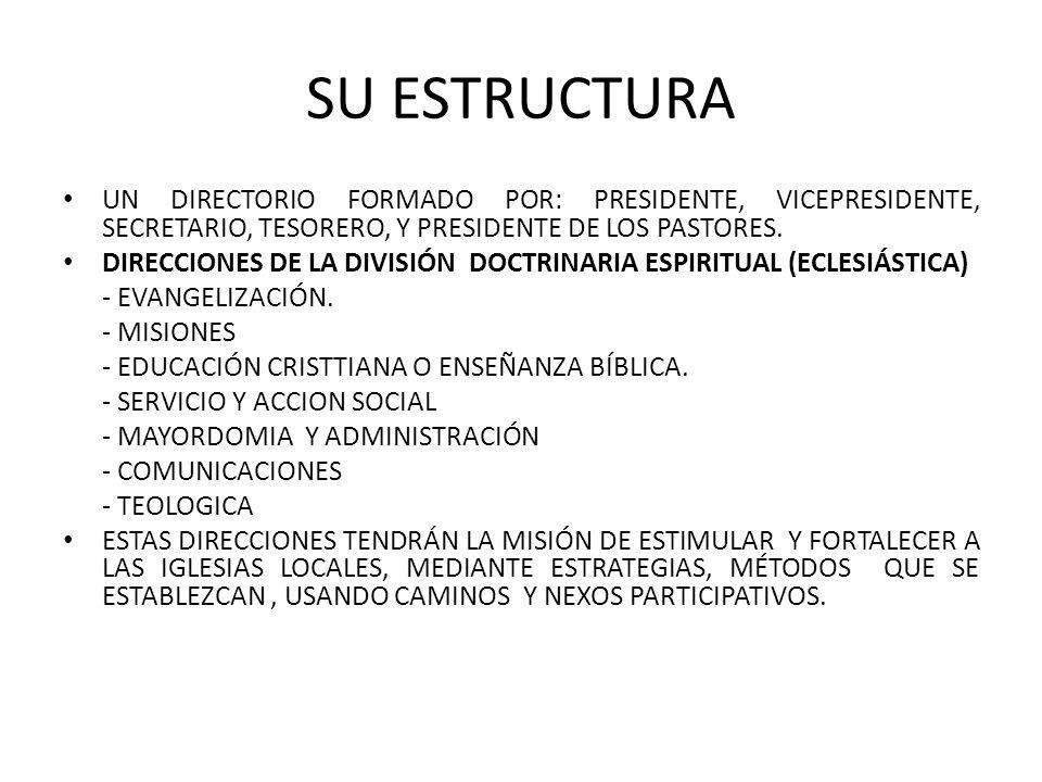 SU ESTRUCTURA UN DIRECTORIO FORMADO POR: PRESIDENTE, VICEPRESIDENTE, SECRETARIO, TESORERO, Y PRESIDENTE DE LOS PASTORES.