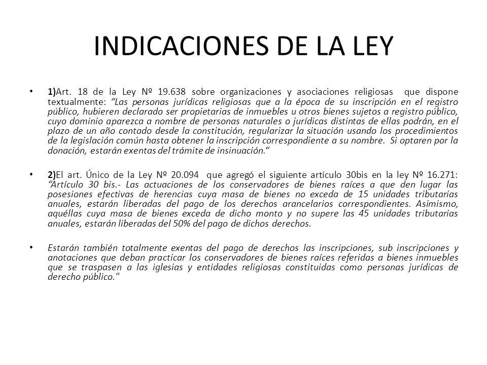 INDICACIONES DE LA LEY